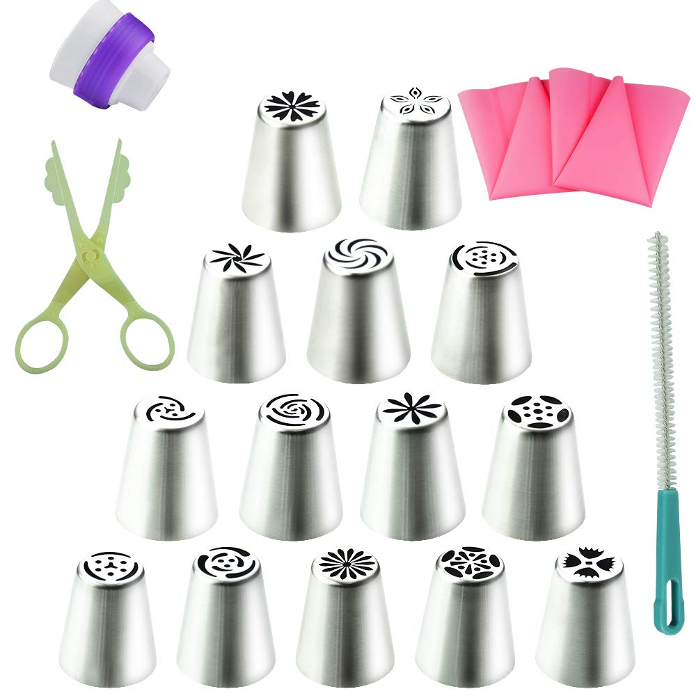 Xelparuc 19Pcs Cake Cookie Sugar Macaron Decorating Supplies tips Kits-14 Stainless Steel Russian Icing Piping Nozzles Pastry Tips 2 Silicone Pastry Bag&1 Coupler&1 cream Scissor and More