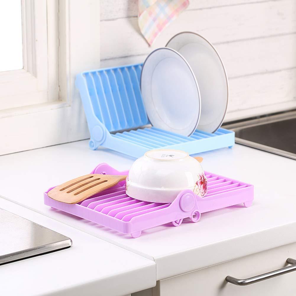 PoeHXtyy 1 PC Platos Escurridor Plegable Port/átil Pr/áctico Platos de cocina Copas Estantes de almacenamiento Estantes secos