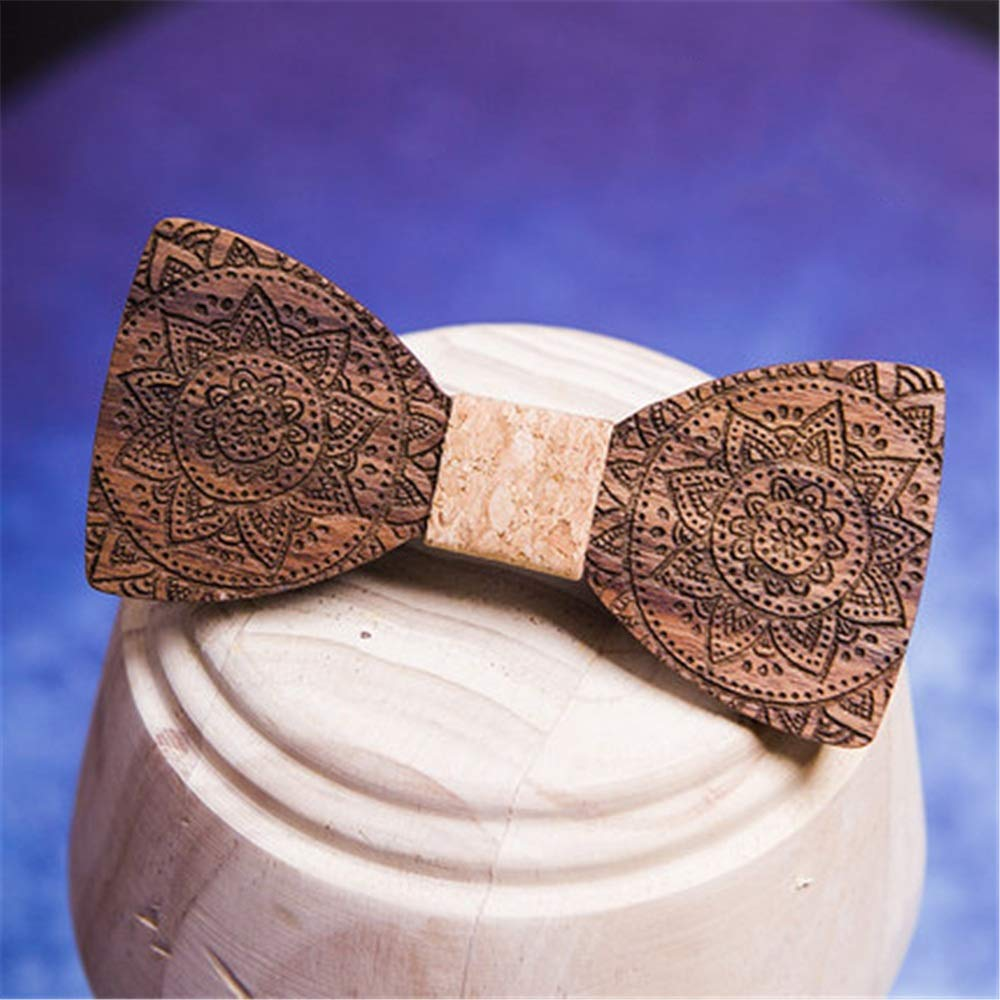 MAODATOU Men s Wooden Bow Tie Wooden Bow Tie Bow Wooden Handmade Bow Tie Mens Bow Tie Cufflinks Boutonniere Square Suit Men Accessories Ties