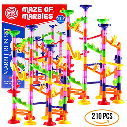 DOUBLE-HUGE Marble Run Construction Toy Set for Kids – Large set of 210 Pieces – Enjoy the double fun of building two sets and trying to connect them, Includes a set of 150 pieces & 60 Marbles (Marble Maze Magnetic)