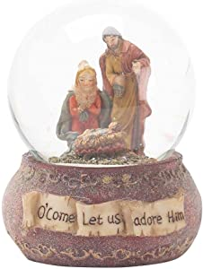 Dicksons O Come Let Us Adore Him Holy Family Resin 5.5 Inch Christmas Nativity Musical Water Globe
