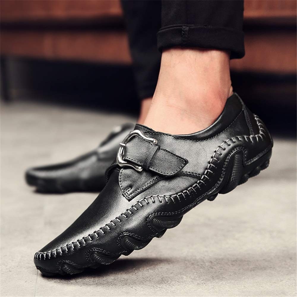 Qiusa Herren Schnalle Schuhe Kuh Leder wasserdicht atmungsaktiv Rutschfeste Casual Größe Loafers (Farbe : Schwarz, Größe Casual : EU 43) Schwarz 6ce9b0