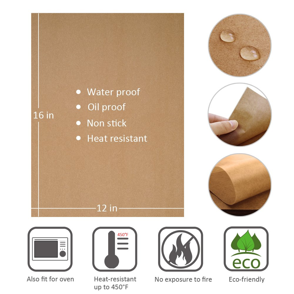 100pcs Unbleached Parchment Paper Baking Liners Sheets, Precut 12×16 inches Non-stick Wax Paper for Cook, Grill, Steam, Pans, Air Fryers, Hamburger Patty Paper by Besego (Image #2)