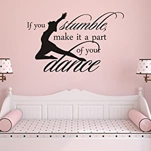 MoharWall Dance Studio for Kids Decals Inspirational Vinyl Wall Quotes Sticker If You Stumble Make It Part of The Girls Dance Room Decor