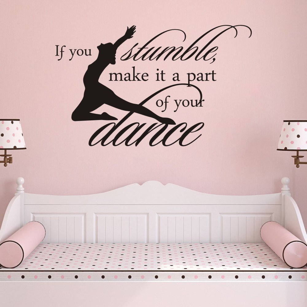 MoharWall Dance Studio for Kids Decal Vinyl Inspirational Wall Quotes Sticker If You Stumble Make It Part of The Dance Decor