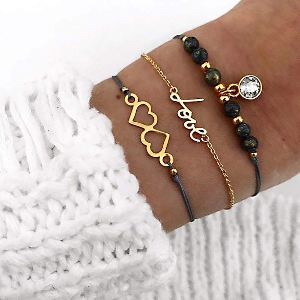 Everrikle Bracelet Bangle Jewelry,3Pcs/Set Boho Women Hollow Heart Love Beaded Multilayer Rope Bracelet Jewelry