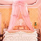 DE&QW Dome suspended ceiling nets mosquito net, Princess court anti-mosquitoes lightweight bed canopy-A Queen1
