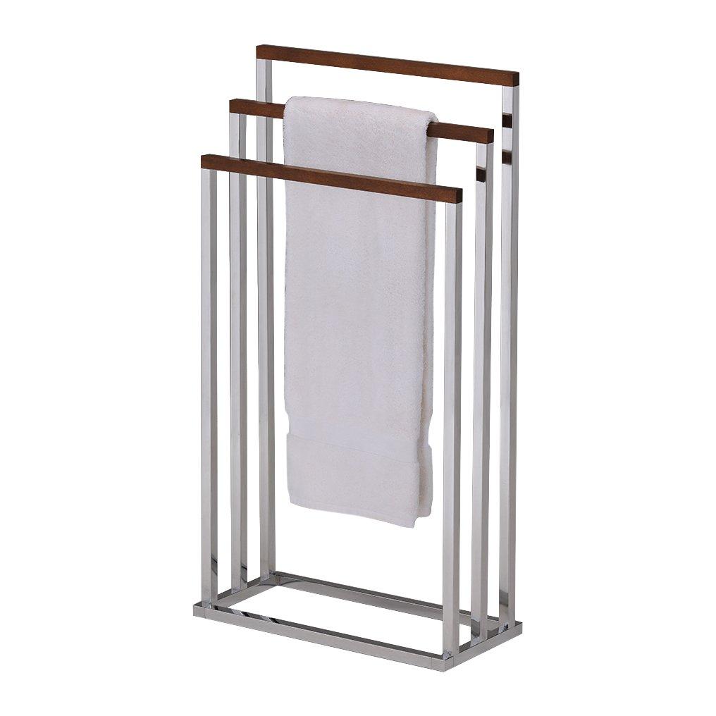 Pilaster Designs - Chrome Metal / Walnut Finish Wood Towel Rack Stand
