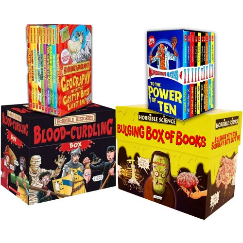 Read Online Horrible Collection 60 Books Collection Pack Set RRP: £189.80 (Horrible Geography 10 books Set, Murderous Maths 10 books Box, Horrible Histories: Blood-Curdling Box 20 Books Set, Horrible Science Bulging Box of Books 20) PDF
