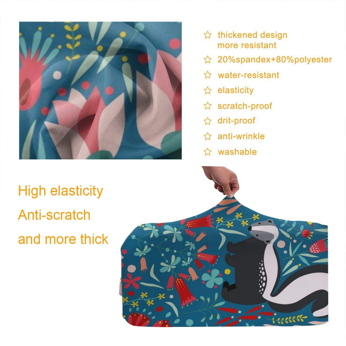 Flowers And Skunks Travel Luggage Cover Suitcase Protector Washable Zipper Baggage Cover