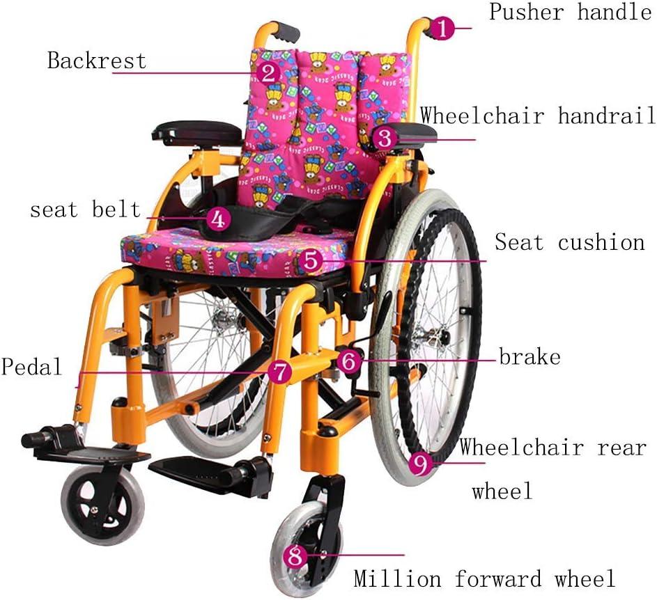 Y-L Ancianos Discapacitados Silla Coche, Seguro Y Cómodo Silla de Ruedas Manual para Niños Aleación de Aluminio Luz Plegable Highend Parálisis Cerebral Silla de Ruedas para Niños