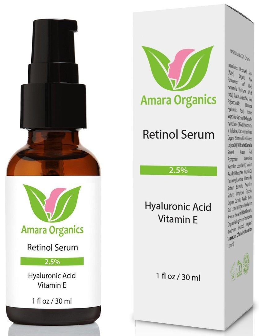AMARA Organics retinol Serum para la cara 2.5% con ácido hialurónico & Vitamina E–30ml