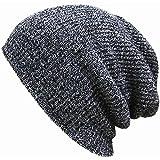 Unisex Men Women Knit Baggy Beanie Winter Hat Ski Slouchy Chic Knitted Cap Skull Dark Gray color