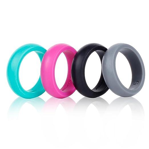 Banda de silicona para anillos de boda Syourself - Paquete de 4 anillos seguros, flexibles, ajuste cómodo de anillos para hombres y mujeres con temática de ...