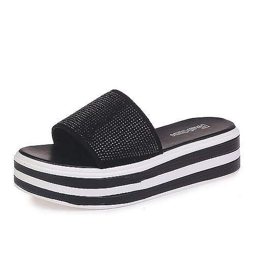 Muffin Zapatillas Moda Femenina Verano Diamantes de imitación Palabra Drag Mujeres Usan Medio con Gruesas Sandalias y Zapatillas: Amazon.es: Zapatos y ...