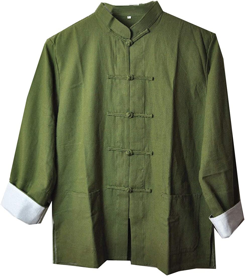 Losait Mens Long Sleeve Relaxed-Fit Solid Tang Suit Button Dress Shirts