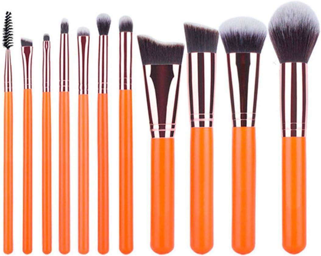Necesidades de la familia No apacible for la acumulación, lanzamiento embotado, 11 piezas Juego de cepillos Orangeness Maquillaje Cepillo de fibra Principiante portátil Belleza Maquillaje conjunto de