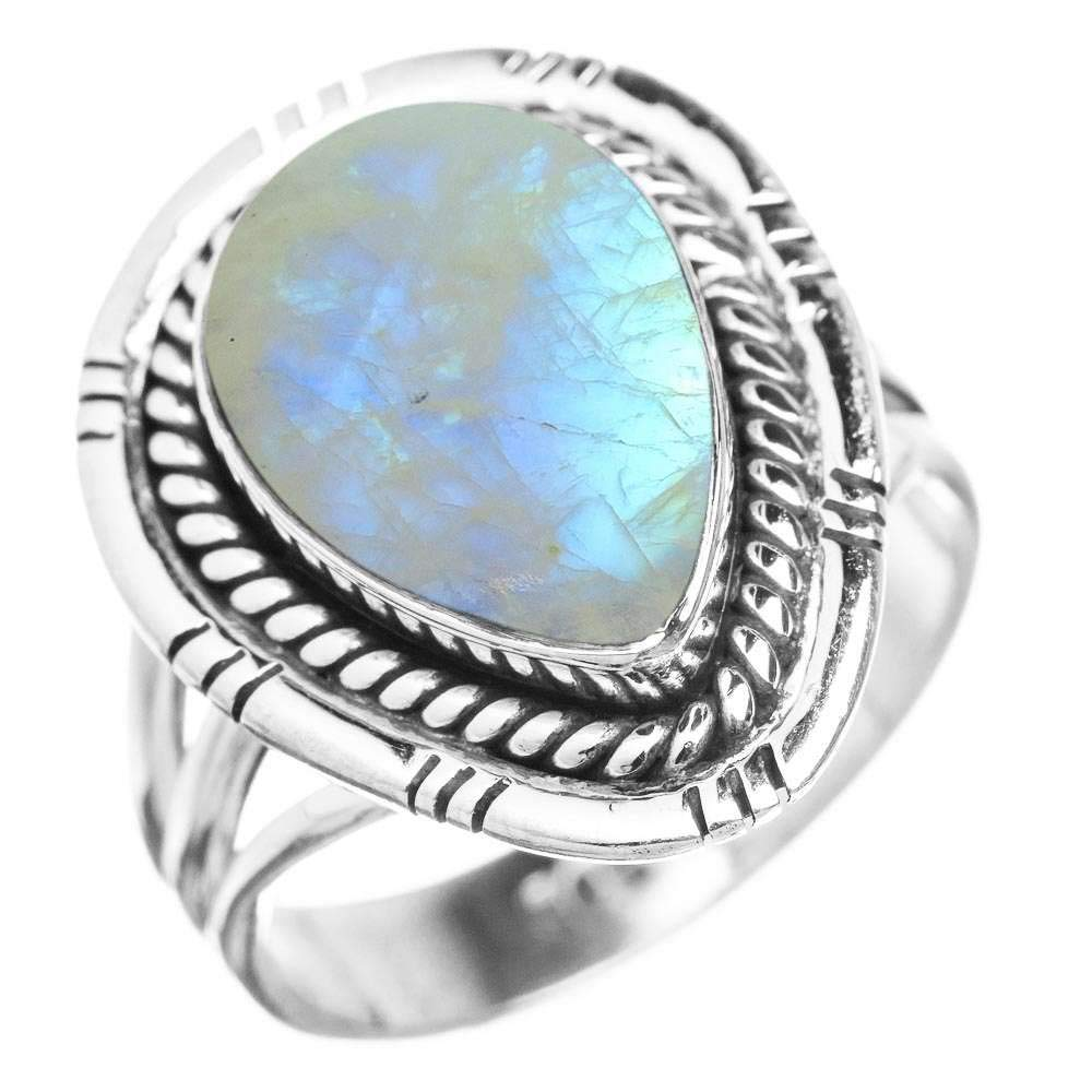 Genuine Rainbow Moonstone 10x14mm Pear /& .925 Silver Plated Handmade Solitaire Rings