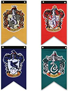 Harry Potter Hogwarts House Wall Banners, Ultra Premium Double Layered Indoor Outdoor Party Flag - Gryffindor, Slytherin, Hufflepuff, Ravenclaw 4pc Set Collection 50''X30''