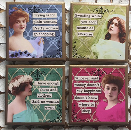 Shopper Trim (Funny shopping ladies coasters with gold trim)
