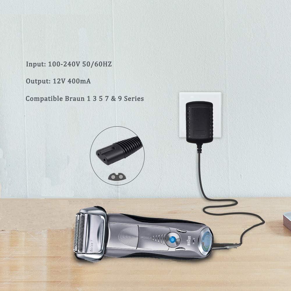 Cargador para afeitadora 12 V 400 mA adaptador CA para afeitadora Braun 3000s 5190cc 6620 9000 9290cc 190s 199s 310 ...