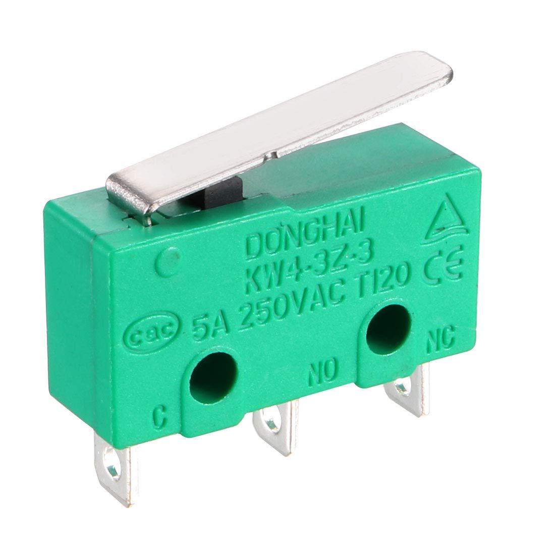 sourcing map 20Pcs KW4-3Z-3 Micro interrupteur momentan/é 3 borne levier droit court