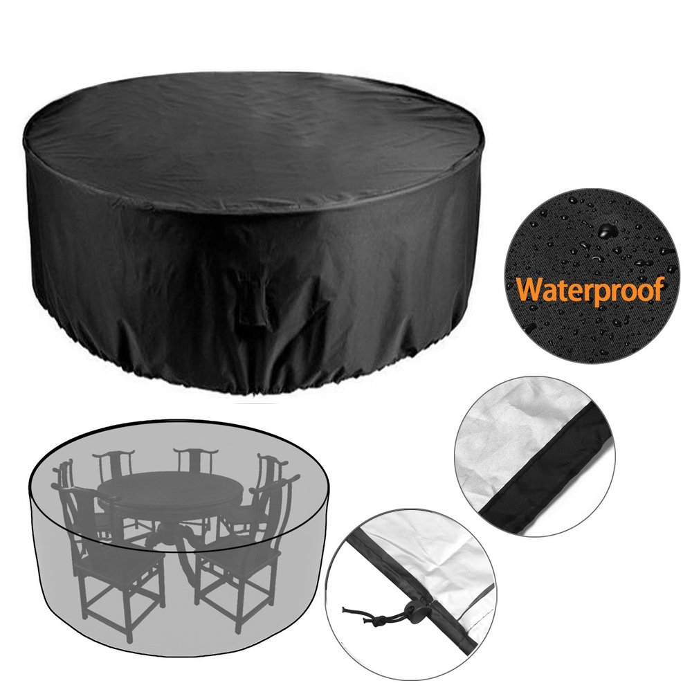 Vinteky 4 Seater Circular Table Cover, Large Round Waterproof Breathable Oxford Fabric Garden Patio Furniture Cover 185cm*110cm