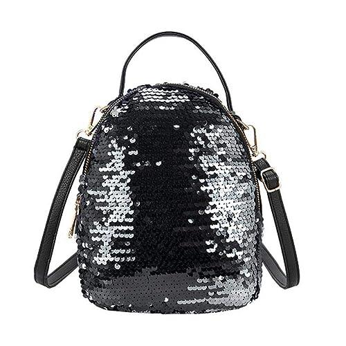 VHVCX Bolsos de hombro de las mujeres de la PU del brillo mochilas grandes niñas recorrido de la manera Marca Escuela Negro bolso femenino Mochila Mochila ...