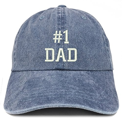 Trendy Apparel Shop Number 1 Dad Embroidered Pigment Dyed Low Profile Cotton Cap - Navy