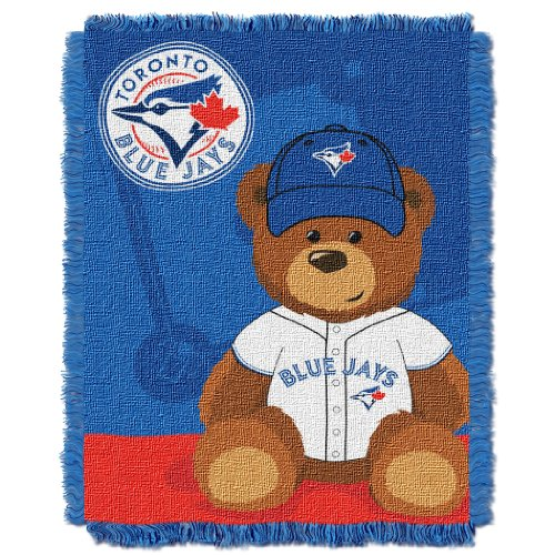 The Northwest Company MLB Toronto Blue Jays Field Bear Woven Jacquard Baby Throw, 36