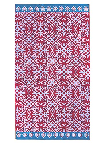 - Espalma Over Sized Luxury Beach Towel, Large Size 70 Inch x 40 Inch Soft Velour and Reversible Absorbent Cotton Terry, Thick and Plush Jacquard Beach Towel, Red/Blue Mosaic Medallion