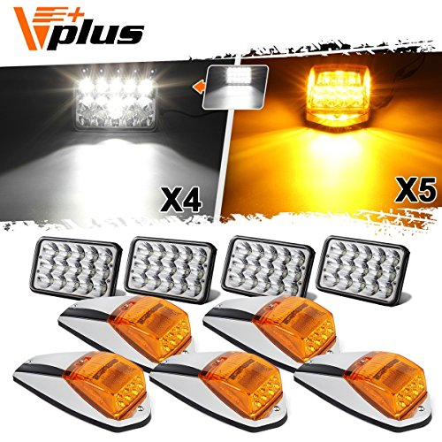 (Partsam 4PCS 4x6 inch LED Headlight Sealed Dual Hi/Lo Beam White Rectangular H4651 H4666 H4656 H6545 + 5x Cab Marker Roof Light 31 LED Amber/Yellow Compatible with Peterbilt 379, Kenworth, Mack)