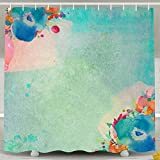 Custom Oil Painting Poster Water-Repellent Bath Shower Curtain With Hook Color White Size 72*78inch