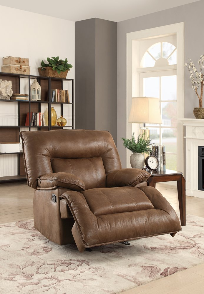 Leatherette Rocker Recliner With Back In Dark Brown