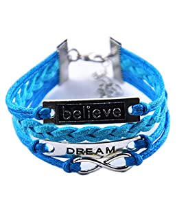 Ac Union ACUNION™ Handmade Infinity Dream Believe Tortoise Angel Wings Owl Butterfly Anchor Brids Heart Best Friend Charm Friendship Gift Leather Bracelet (Dream+Believe-Blue)