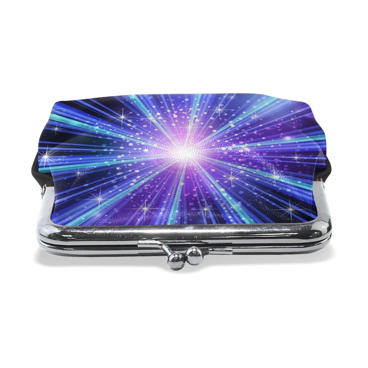 Poream Blue Light Rays With Stars Personalized Retro Leather Cute Classic Floral Coin Purse Clutch Pouch Wallet For Girls And Womens