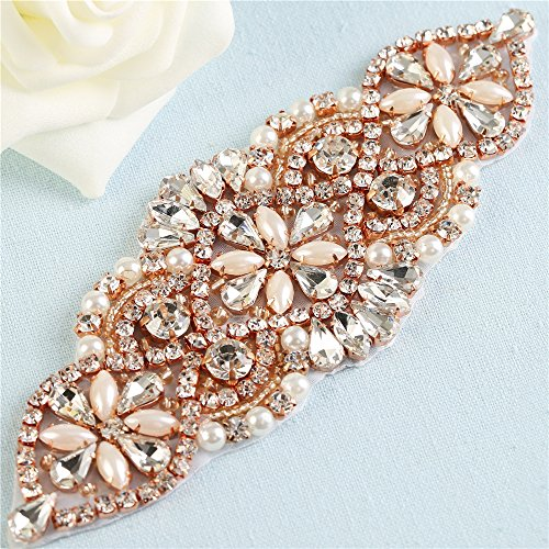 Crystal Rhinestone Appliques Pearls Beaded Embellishments Handcrafted Sparkle Elegant Sewing on Hot fix for DIY Wedding Gown Bridal Belts Sashes Prom Evening Women Dresses - Rose Gold 030