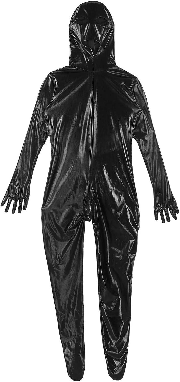 TiaoBug Herren Wetlook Overall Lederoptik Langarm Ganzk/örperanzug mit Haube Handschuhe Socken Erotik Bodysuit mit Bulge Pouch Lange Hose Pants
