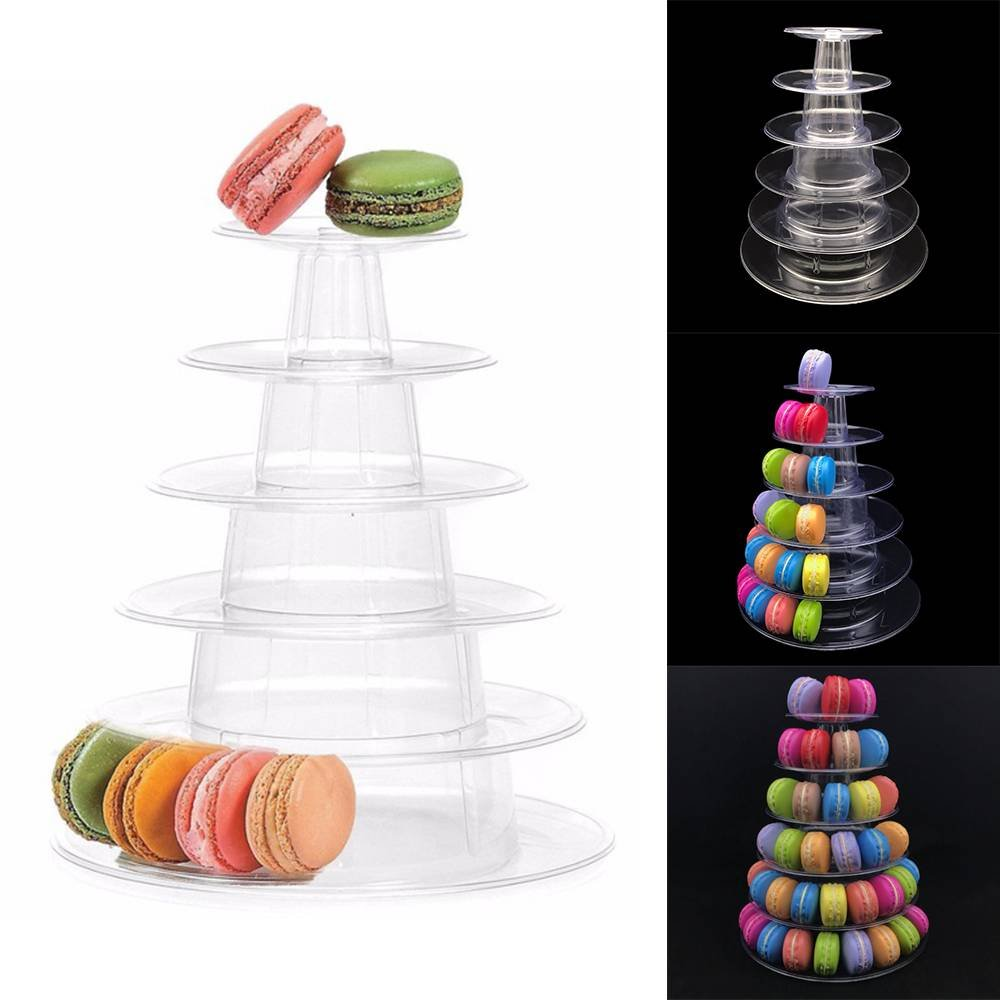 Sinkrau 6 Tiers Round Macaron Tower Cake Stand Macaron Display Rack for Wedding Birthday