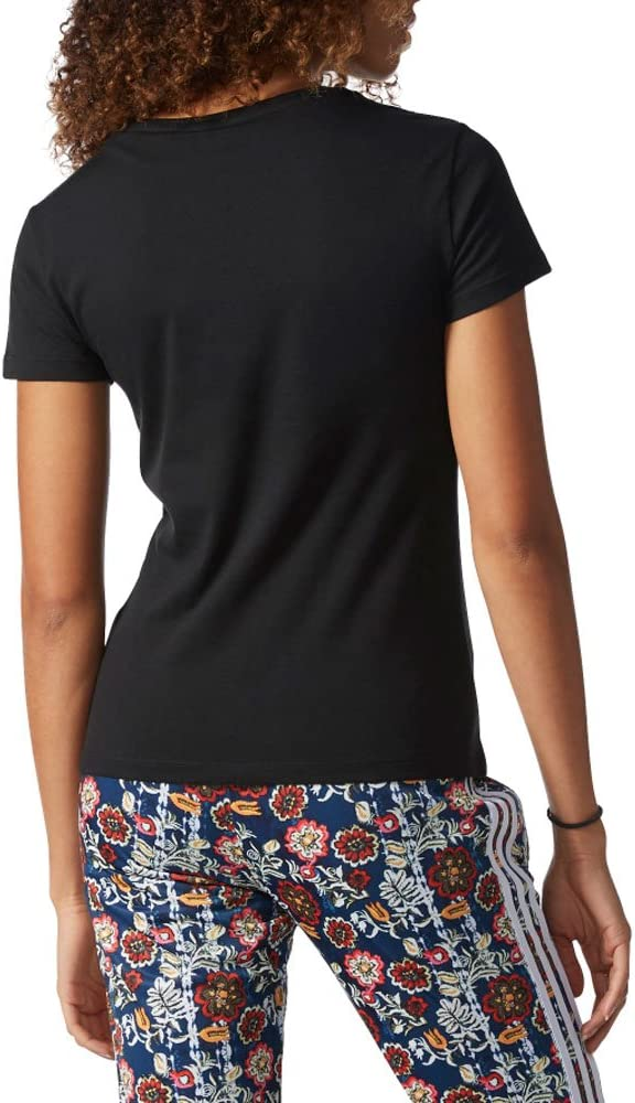 adidas Originals Womens Trefoil Tee Tops, Black/White, X ...