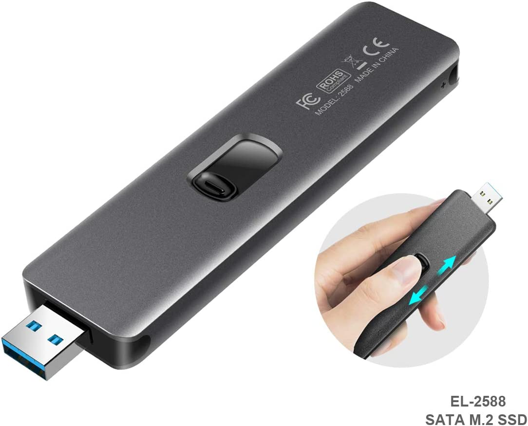 ElecGear USB 3.1 Gen2 Caja de Carcasa para SATA M.2 SSD, EL-2588 Disco Duro Adapter, 10Gbps Aluminio Case Adaptador, B Key NGFF SATA SSD 2280/2260/2242/2230 Disk Drive Convertidor, USB Tipo A Plug: