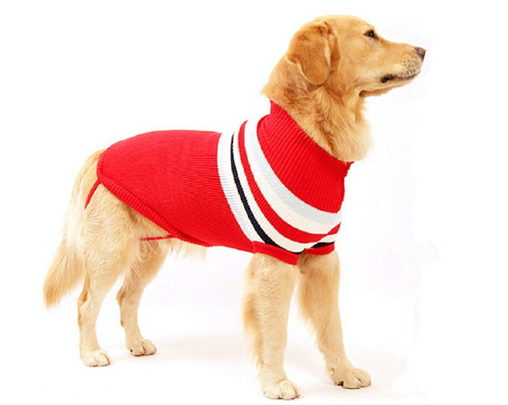 Delifur Dog Stripes Classic Sweaters Winter Warmth Dog Sweater for Large Dogs (XL, RED) by Delifur