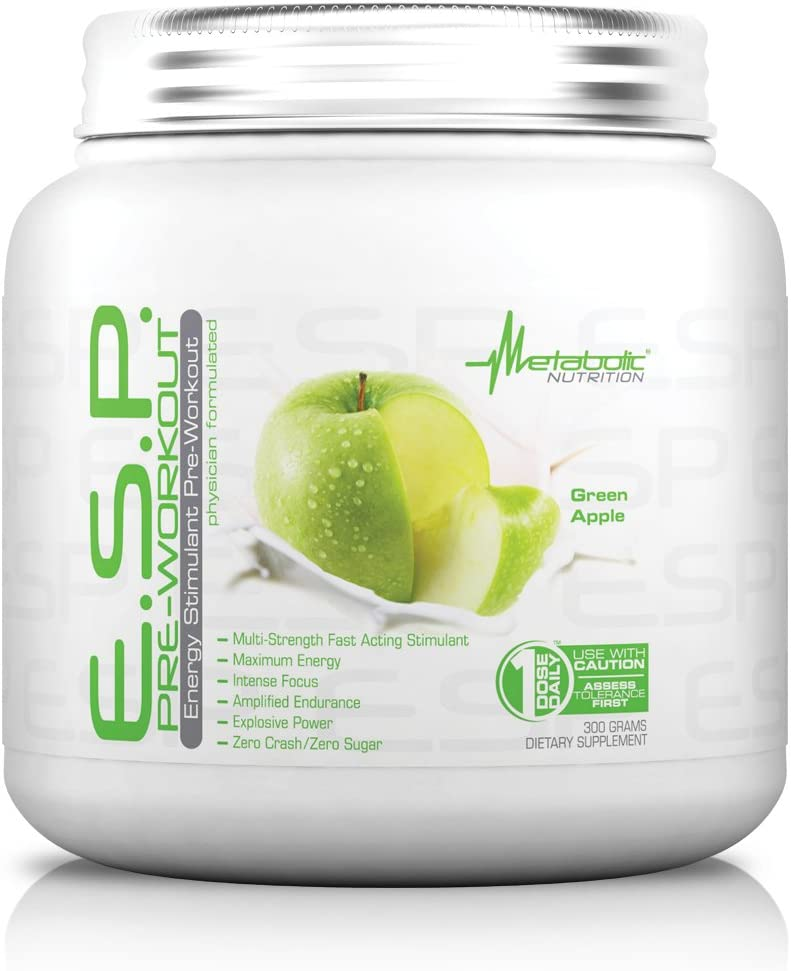 Metabolic Nutrition, ESP, Energy and Endurance Stimulating Pre Workout, Pre Intra Workout, High Energy and Mental Focus, Stimulating Workout Supplement, Green Apple, 300 Grams (90 Servings)