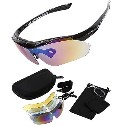 Beileer Unisex Deportes al Aire Libre Ciclismo Gafas de Sol UV400 Gafas Bicicleta Gafas con 5 Lentes Intercambiables para una conducción Pesca ...