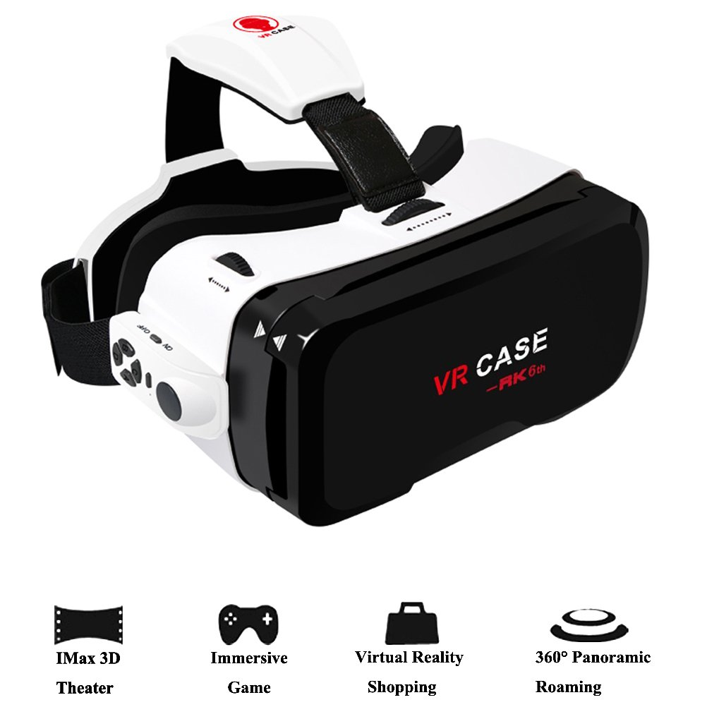 3D VR Glasses, Coxtech 360° 3D Virtual Reality Headset 3D Movies Glass with Bluetooth Remote Controller VR Video Goggles Cardboard for iPhone 7 plus 6s 6 Samsung Galaxy Android 4.0''- 6.0'' Cellphone