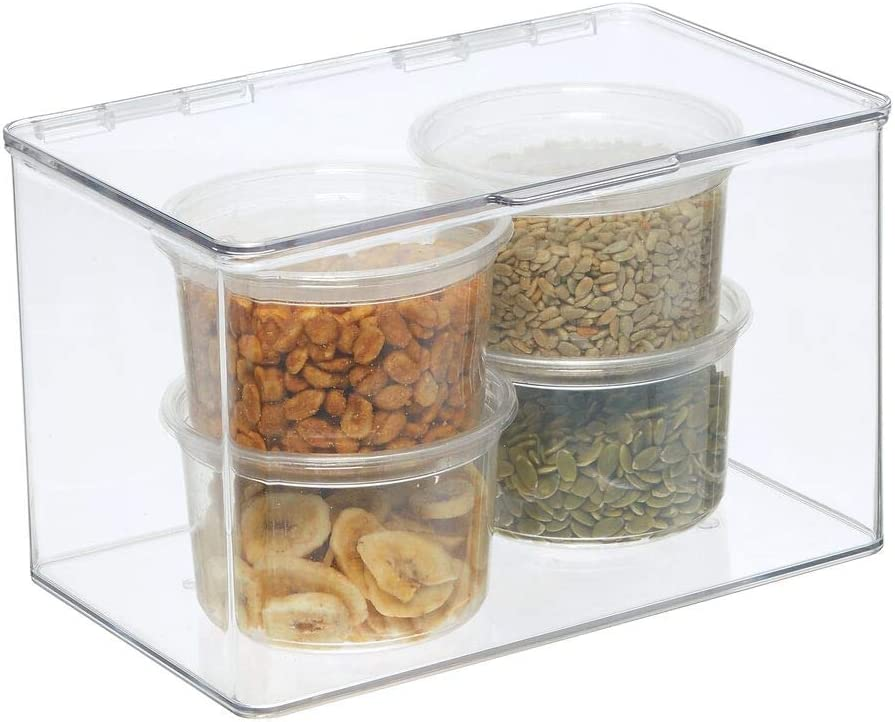 Simple Kitchen Storage Solution with 6L Capacity Ideal Plastic Storage Containers with hinged lid for The Fridge Clear Freezer and Pantry mDesign Kitchen Storage Boxes
