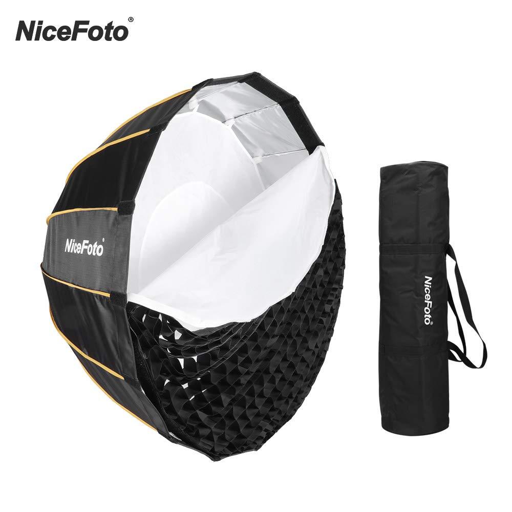 Nicefoto Bo/îte /à lumi/ère LED pour Aputure 120D 120D II et Autres Feux de Flash Bowens Mount avec Grille de Transport pour Portrait