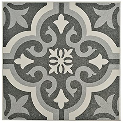 "SomerTile FTC8BRBK Bracara Ceramic Floor and Wall Tile, 7.75"" x 7.75"", Grey"