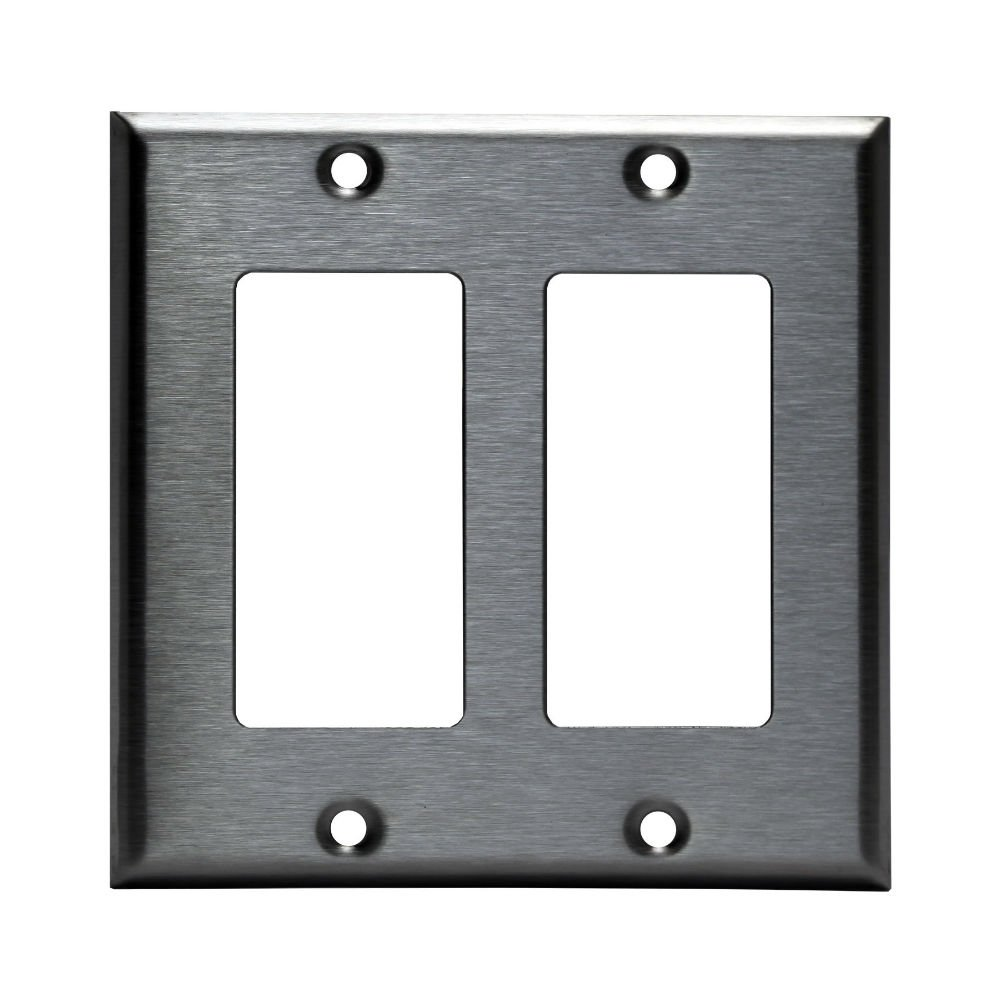 2 Gang Brushed Stainless Steel Outlet Cover Rocker Switch Wall Plates Decorator Metal