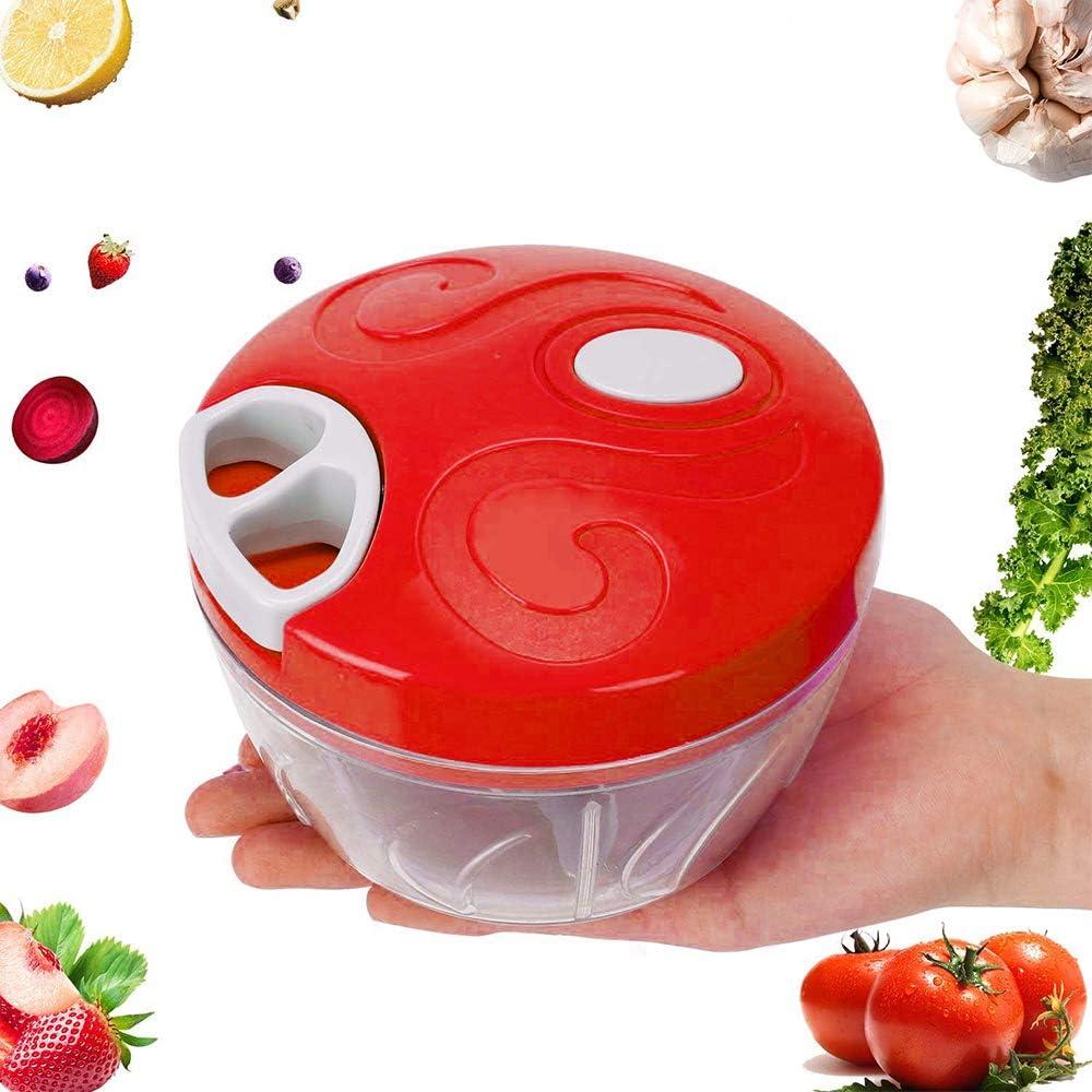OurLeeme Picadora manual de alimentos, picadora manual de 500 ml Cebollas de frutas vegetales Ajo Nueces picadoras de carne Cuchillas extraíbles de acero inoxidable Cortador de ajo (rojo): Amazon.es: Hogar